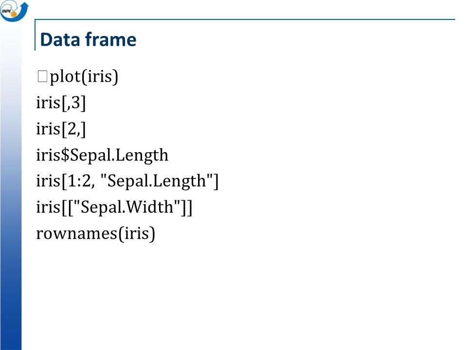Data frame plot(iris) iris[,3] iris[2,] iris$Sepal.Length iris[1:2, Sepal.Length ] iris[[ Sepal.Width ]] rownames(iris)